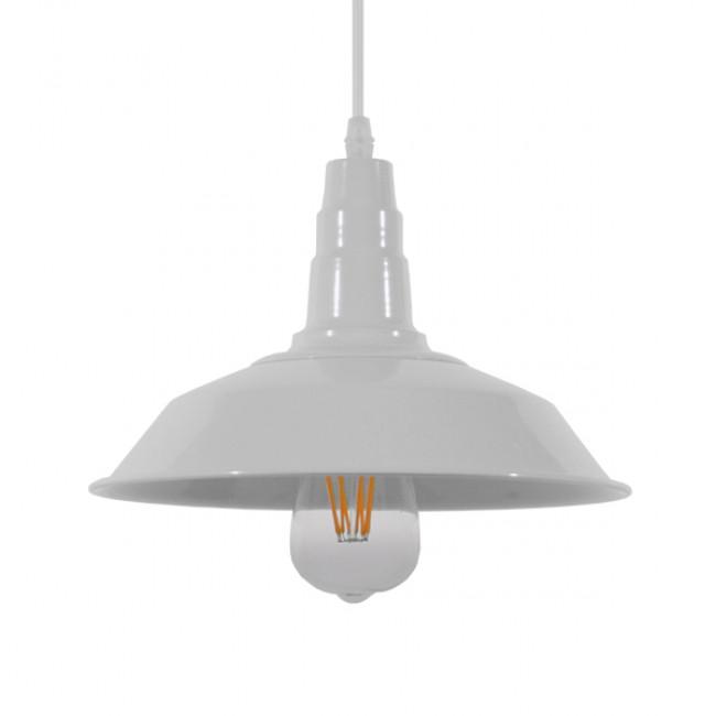 Vintage Industrial Κρεμαστό Φωτιστικό Οροφής Μονόφωτο Λευκό Μεταλλικό Καμπάνα Φ26 GloboStar RAY WHITE 01044 - 1