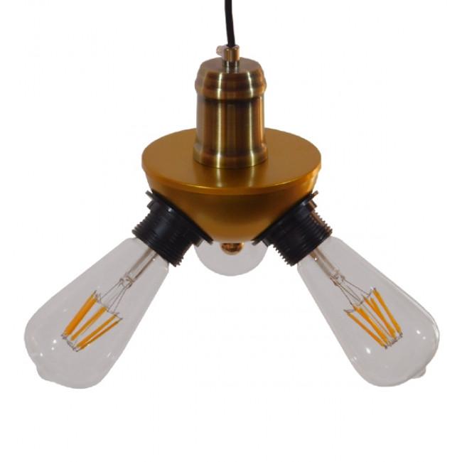 Vintage Ιndustrial Κρεμαστό Φωτιστικό Οροφής Τρίφωτο Χρυσό Μεταλλικό Φ12 GloboStar COPPER 01076 - 4
