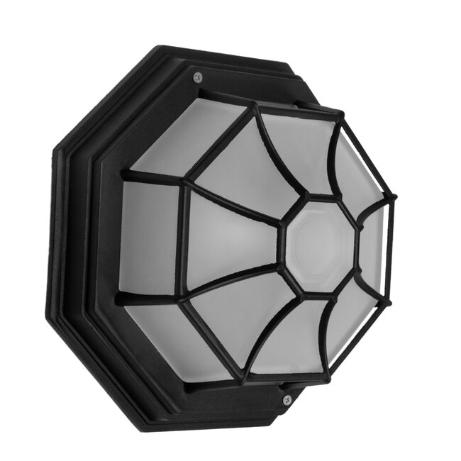 GloboStar® RUBY 00912 Vintage Μεταλλικό Φωτιστικό Πλαφονιέρα Οροφής - Απλίκα Τοίχου από Αλουμίνιο με Ντουί E27 Μονόφωτο Μαύρο με Γαλακτερό Γυαλί Μ27 x Π27 x Υ12cm - 2