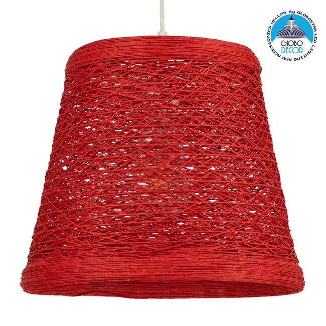 PLAYROOM 00863 Vintage Κρεμαστό Φωτιστικό Οροφής Μονόφωτο Κόκκινο Ξύλινο Ψάθινο Rattan Φ32 x Υ27cm - 1