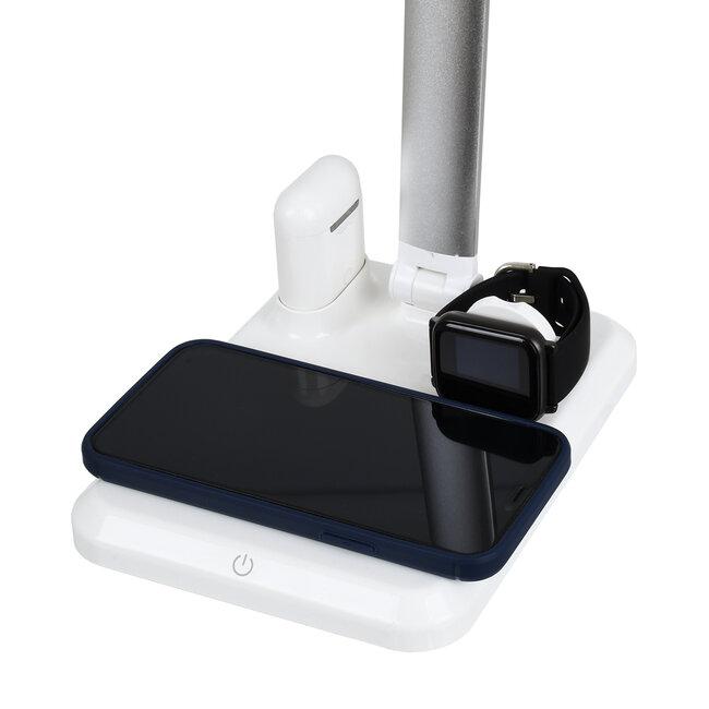 86101 CHATEAU Μοντέρνο Φωτιστικό Γραφείου Λευκό LED 10 Watt 1000lm DC 5V Αφής & Καλώδιο Τροφοδοσίας USB με Ασύρματη Φόρτιση - Wireless Charger για Τηλέφωνα και Earphones Φυσικό Λευκό 4500K - 5