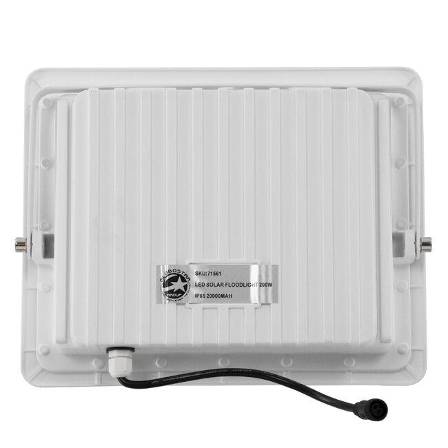 GloboStar® 71561 Αυτόνομος Ηλιακός Προβολέας LED SMD 200W 24000lm με Ενσωματωμένη Μπαταρία 20000mAh - Φωτοβολταϊκό Πάνελ με Αισθητήρα Ημέρας-Νύχτας και Ασύρματο Χειριστήριο RF 2.4Ghz Αδιάβροχος IP66 Ψυχρό Λευκό 6000K - 6