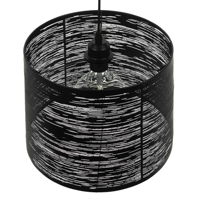 Μοντέρνο Industrial Κρεμαστό Φωτιστικό Οροφής Μονόφωτο Μεταλλικό Μαύρο Καμπάνα Φ35  ATLANTIS 01556 - 5