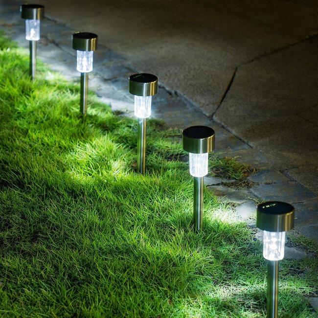 71520-10 ΣΕΤ 10 Τεμαχίων Αυτόνομα Ηλιακά Φωτιστικά LED SMD 1W 100lm με Ενσωματωμένη Μπαταρία 600mAh - Φωτοβολταϊκό Πάνελ με Αισθητήρα Ημέρας-Νύχτας Αδιάβροχο IP65 Φανάρι Κήπου Στρογγυλό Ψυχρό Λευκό 6000K - 5