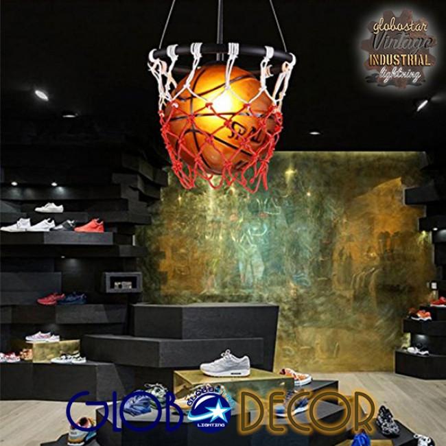 Μοντέρνο Κρεμαστό Φωτιστικό Οροφής Μονόφωτο Πορτοκαλί Μεταλλικό Πλέγμα Φ32 GloboStar NBA  01027 - 7