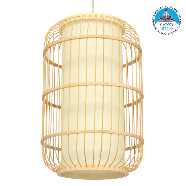 DE PARIS 00893 Vintage Κρεμαστό Φωτιστικό Οροφής Μονόφωτο Μπεζ Ξύλινο Bamboo Φ25 x Υ42cm - 1