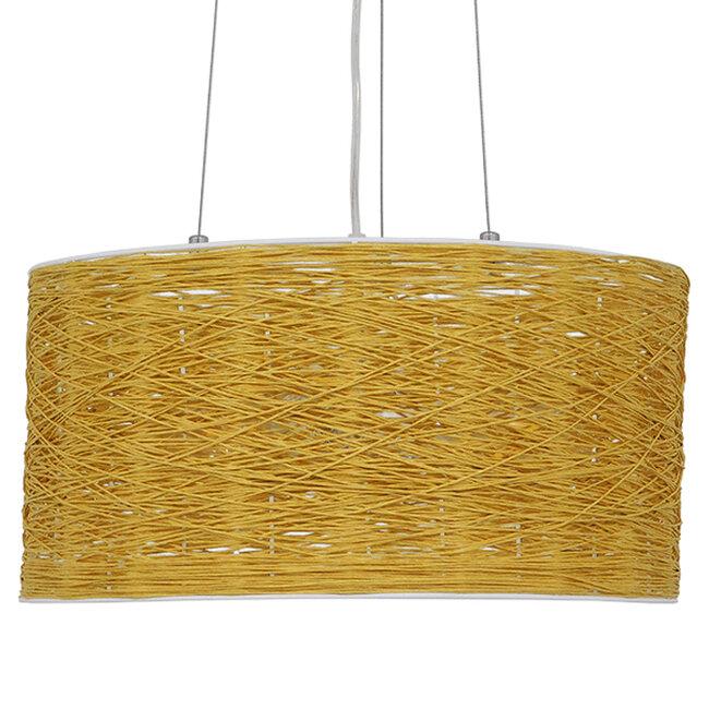 Vintage Κρεμαστό Φωτιστικό Οροφής Μονόφωτο Καφέ Ξύλινο Bamboo Φ40  MADAGASKAR 01630 - 4