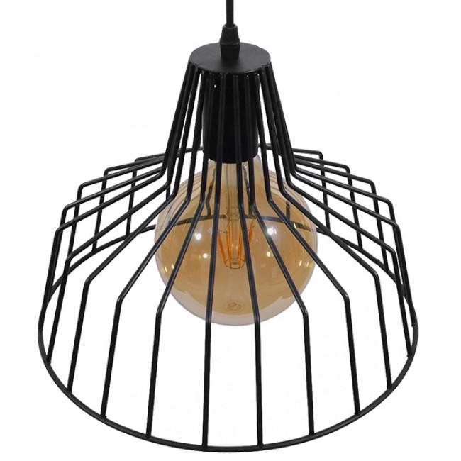 Vintage Industrial Κρεμαστό Φωτιστικό Οροφής Μονόφωτο Μαύρο Μεταλλικό Πλέγμα Καμπάνα Φ30 GloboStar TERE 01165 - 4