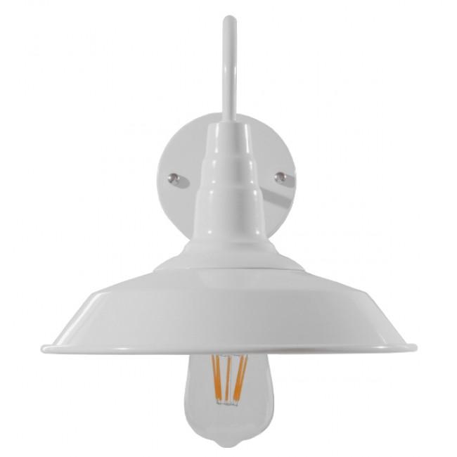 Vintage Industrial Φωτιστικό Τοίχου Απλίκα Μονόφωτο Λευκό Μεταλλικό Καμπάνα Φ26 GloboStar SORD WHITE 01066 - 3