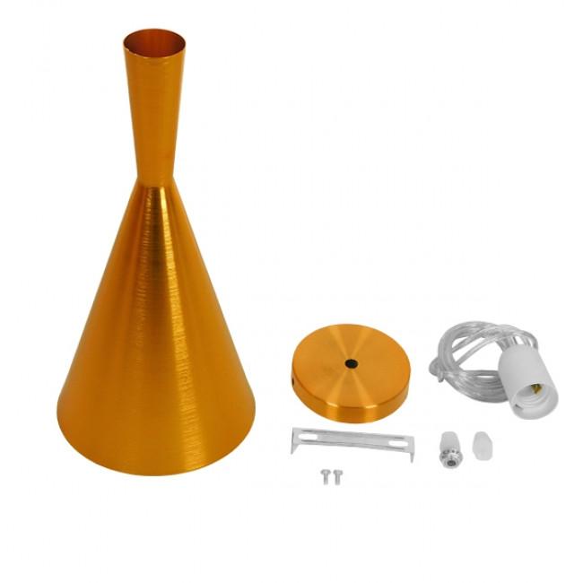 Μοντέρνο Κρεμαστό Φωτιστικό Οροφής Μονόφωτο Χρυσό Μεταλλικό Καμπάνα Φ18 GloboStar HUZHOU 01546 - 5