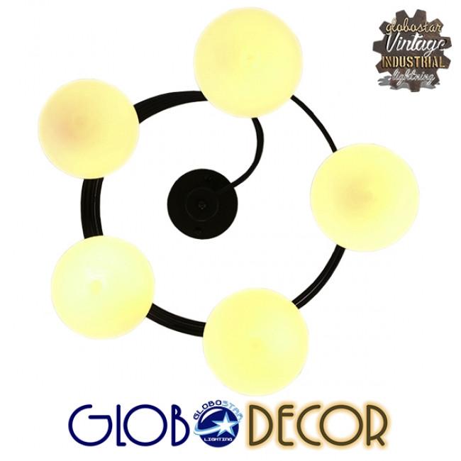 Μοντέρνο Φωτιστικό Οροφής Πολύφωτο Μαύρο Μεταλλικό με Λευκό Γυαλί Φ63  SELINA 01090 - 9