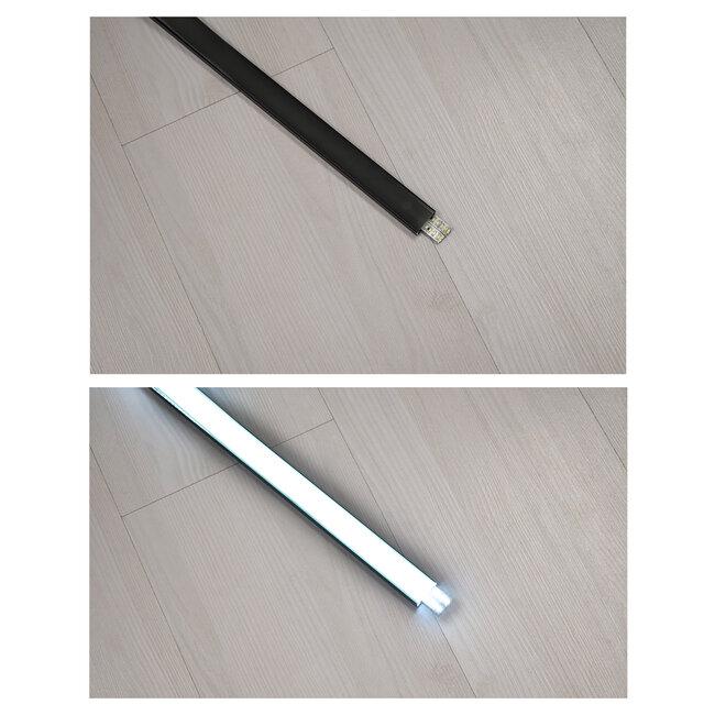 GloboStar® 70810-2M Επιφανειακό Προφίλ Αλουμινίου Μαύρο με Μαύρο Οπάλ Κάλυμμα για 2 Σειρές Ταινίας LED Πατητό - Press On Πακέτο 5 Τεμάχια των 2 Μέτρων - 4