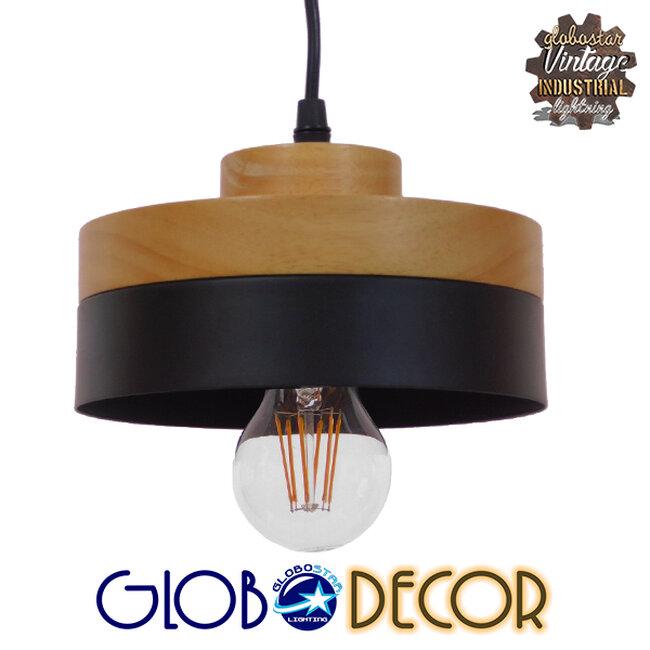 Μοντέρνο Κρεμαστό Φωτιστικό Οροφής Μονόφωτο Μαύρο Μεταλλικό με Φυσικό Ξύλο Καμπάνα Φ18  RUHIEL 01233 - 1
