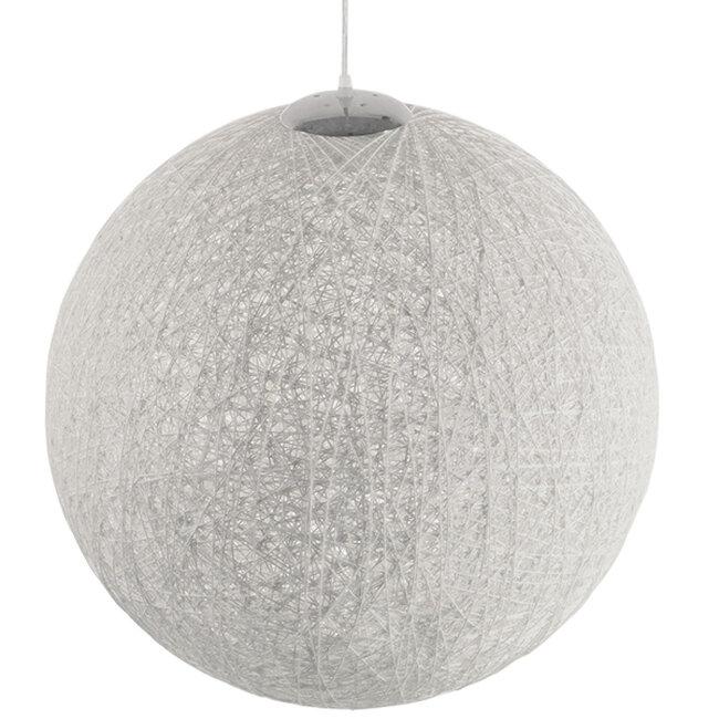 Vintage Κρεμαστό Φωτιστικό Οροφής Μονόφωτο Λευκό Ξύλινο Ψάθινο Rattan Φ60  KETTLE 01363 - 4