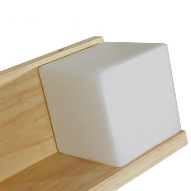 Μοντέρνο Φωτιστικό Τοίχου Απλίκα Ραφάκι Μονόφωτο Ξύλινο με Λευκό Ματ Γυαλί GloboStar AMITY RIGHT 01366 - 7
