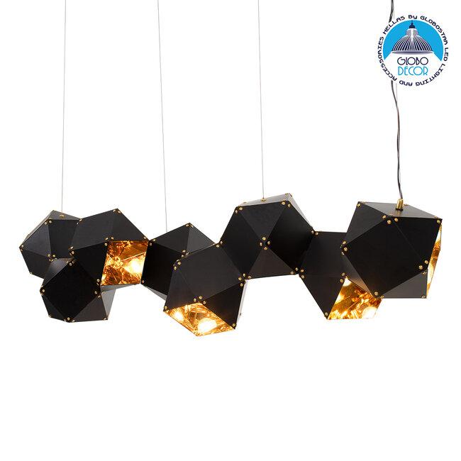 WELLES Replica 00798 Μοντέρνο Κρεμαστό Φωτιστικό Οροφής Πολύφωτο Μεταλλικό Μαύρο Χρυσό Μ130 x Π32 x Υ30cm - 1