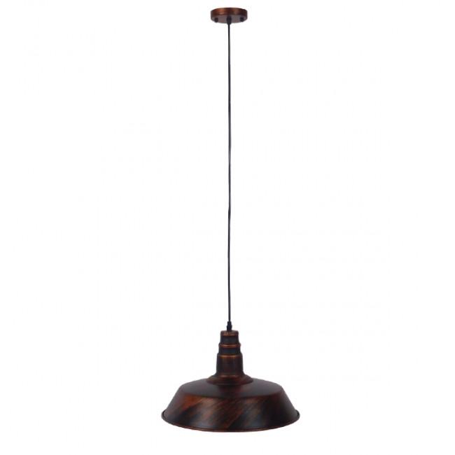 Vintage Industrial Κρεμαστό Φωτιστικό Οροφής Μονόφωτο Καφέ Σκουριά Μεταλλικό Καμπάνα Φ36 GloboStar RAY IRON RUST 01046 - 2