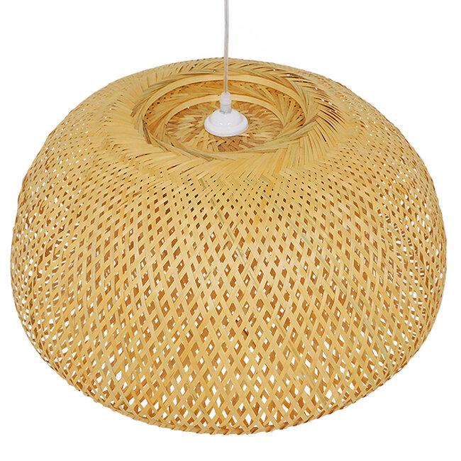 Vintage Κρεμαστό Φωτιστικό Οροφής Μονόφωτο Καφέ Ξύλινο Bamboo Φ60  BERMUDA 01627 - 7