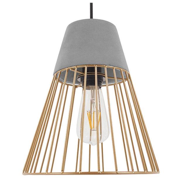 Μοντέρνο Industrial Κρεμαστό Φωτιστικό Οροφής Μονόφωτο Γκρι Μπεζ Τσιμέντο Πλέγμα Φ25  UTOPIAN 01323 - 3