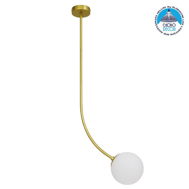 Μοντέρνο Φωτιστικό Οροφής Μονόφωτο Χρυσό 100cm με Λευκό Ματ Γυαλί Φ15 GloboStar DRIZZLE 100cm 00921 - 1