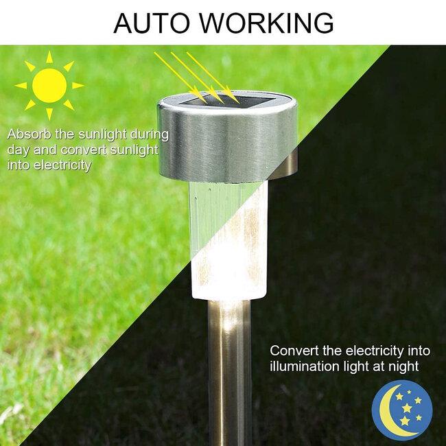 71521 Αυτόνομο Ηλιακό Φωτιστικό LED SMD 1W 100lm με Ενσωματωμένη Μπαταρία 600mAh - Φωτοβολταϊκό Πάνελ με Αισθητήρα Ημέρας-Νύχτας Αδιάβροχο IP65 Φανάρι Κήπου Στρογγυλό Θερμό Λευκό 3000K - 3