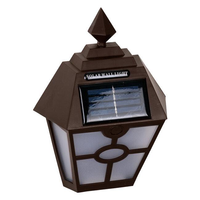 71493 Αυτόνομο Ηλιακό Φωτιστικό Τοίχου Καφέ LED SMD 1W 100lm με Ενσωματωμένη Μπαταρία 600mAh - Φωτοβολταϊκό Πάνελ με Αισθητήρα Ημέρας-Νύχτας IP65 Ψυχρό Λευκό 6000K - 5