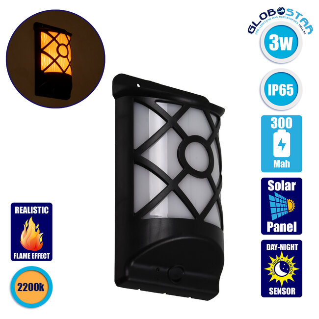 71457 Αυτόνομο Ηλιακό Φωτιστικό Τοίχου Μαύρο LED SMD 3W 220lm με Ενσωματωμένη Μπαταρία 300mAh - Εφέ Φλόγας Flame Effect - Φωτοβολταϊκό Πάνελ με Αισθητήρα Ημέρας-Νύχτας IP65 Θερμό Λευκό 2200K - 1