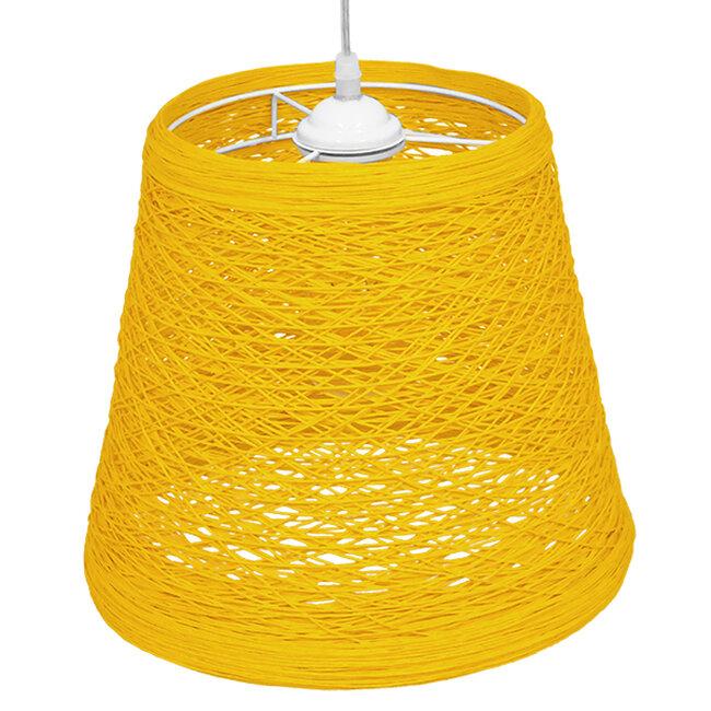 Vintage Κρεμαστό Φωτιστικό Οροφής Μονόφωτο Κίτρινο Ξύλινο Ψάθινο Rattan Φ32  ARGENT YELLOW 00998 - 4