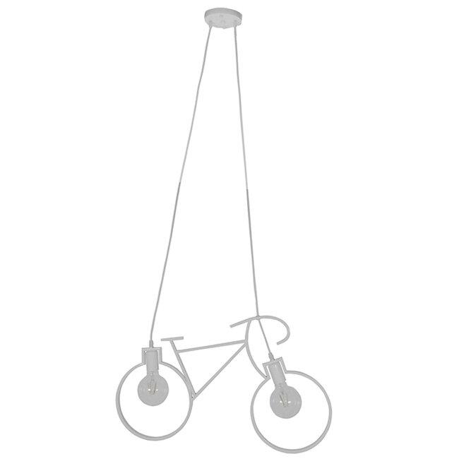Vintage Κρεμαστό Φωτιστικό Οροφής Δίφωτο Λευκό Μεταλλικό  BIKE 01300 - 2