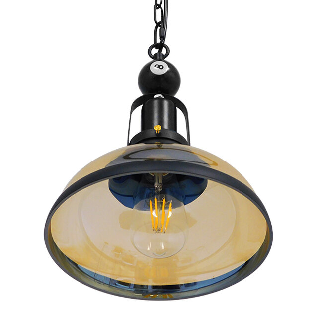 Vintage Industrial Κρεμαστό Φωτιστικό Οροφής Μονόφωτο Mαύρο Μεταλλικό Καμπάνα Φ25  BILLIARD SERIES 00971 - 6
