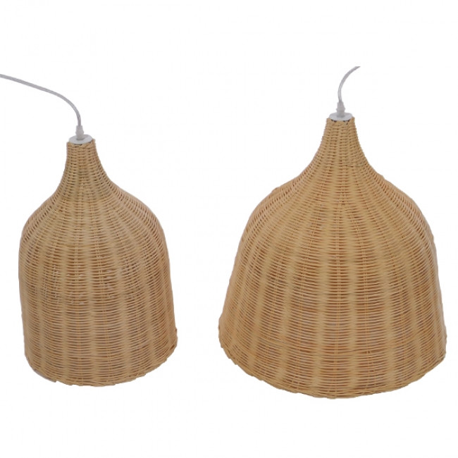 Vintage Κρεμαστό Φωτιστικό Οροφής Μονόφωτο Μπεζ Ξύλινο Ψάθινο Rattan Φ45  NATH 01203 - 8