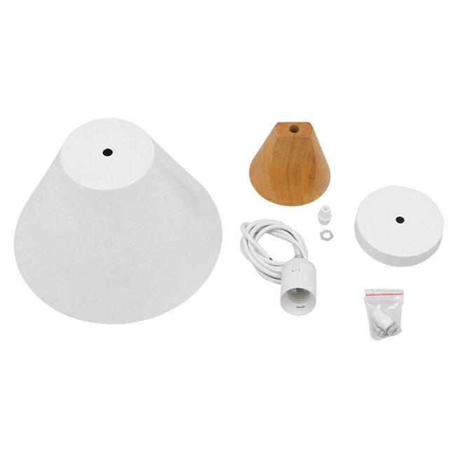 Μοντέρνο Κρεμαστό Φωτιστικό Οροφής Μονόφωτο Λευκό Μεταλλικό με Ξύλο Καμπάνα Φ23  SHADE WHITE 00907 - 7