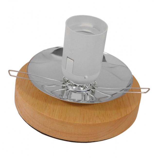 Μοντέρνο Επιτραπέζιο Φωτιστικό Πορτατίφ Μονόφωτο Καφέ Σκούρο Ξύλινο Ψάθινο Rattan Φ20 GloboStar WESTON 01337 - 7