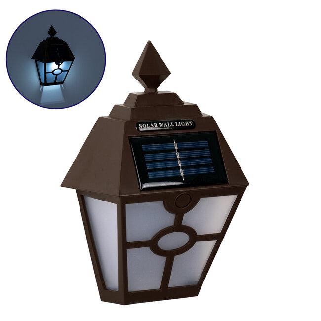 71493 Αυτόνομο Ηλιακό Φωτιστικό Τοίχου Καφέ LED SMD 1W 100lm με Ενσωματωμένη Μπαταρία 600mAh - Φωτοβολταϊκό Πάνελ με Αισθητήρα Ημέρας-Νύχτας IP65 Ψυχρό Λευκό 6000K - 2