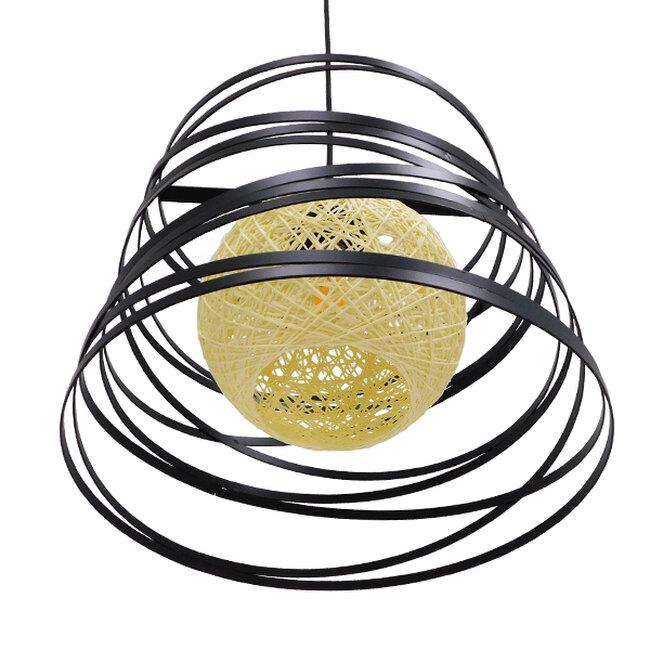 Μοντέρνο Industrial Κρεμαστό Φωτιστικό Οροφής Μονόφωτο Μαύρο με Εκρού Μεταλλικό Πλέγμα Φ32  CARTER Φ32 00961 - 6