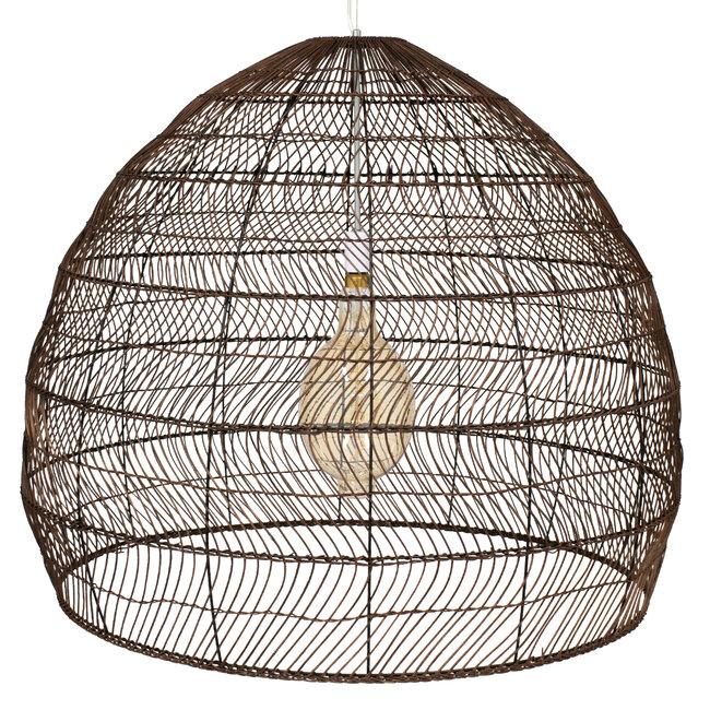 GloboStar® MALIBU 00967 Vintage Κρεμαστό Φωτιστικό Οροφής Μονόφωτο Λευκό Ξύλινο Bamboo Φ97 x Y86cm - 5