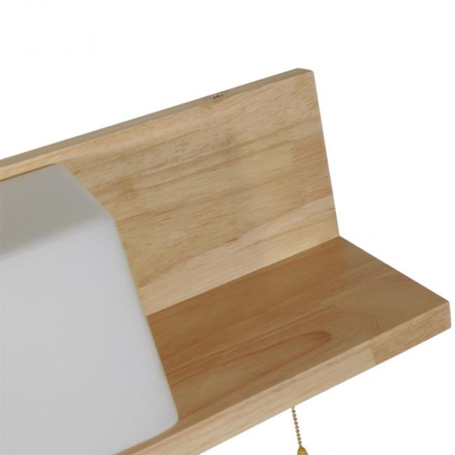 Μοντέρνο Φωτιστικό Τοίχου Απλίκα Ραφάκι Μονόφωτο Ξύλινο με Λευκό Ματ Γυαλί GloboStar AMITY LEFT 01365 - 6