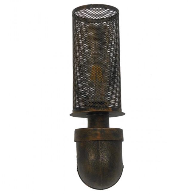 Vintage Industrial Φωτιστικό Τοίχου Απλίκα Μονόφωτο Μαύρο Μεταλλικό Πλέγμα Φ10 GloboStar RAZA 01105 - 5