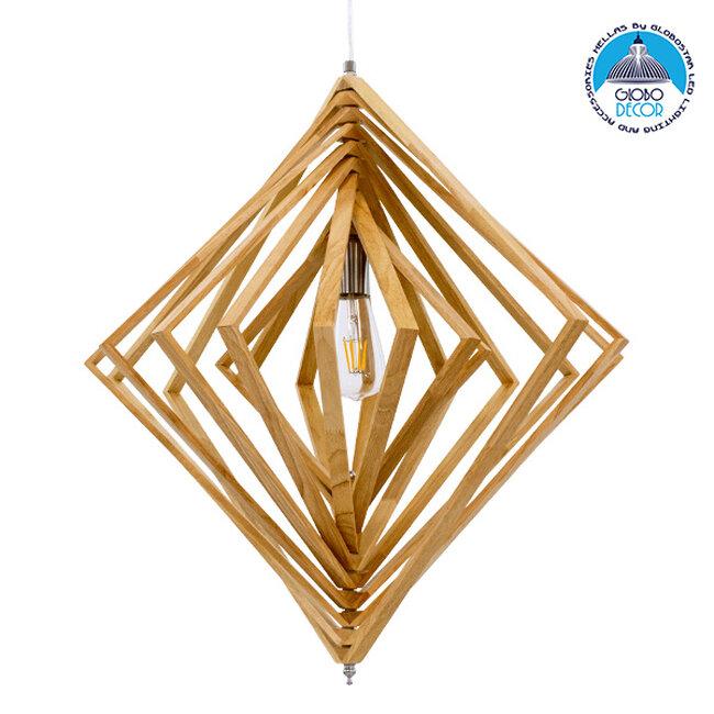 Μοντέρνο Κρεμαστό Φωτιστικό Οροφής Μονόφωτο Μπεζ Ξύλινο Μ64xΠ2xY66cm  OCTAVE 01431 - 1