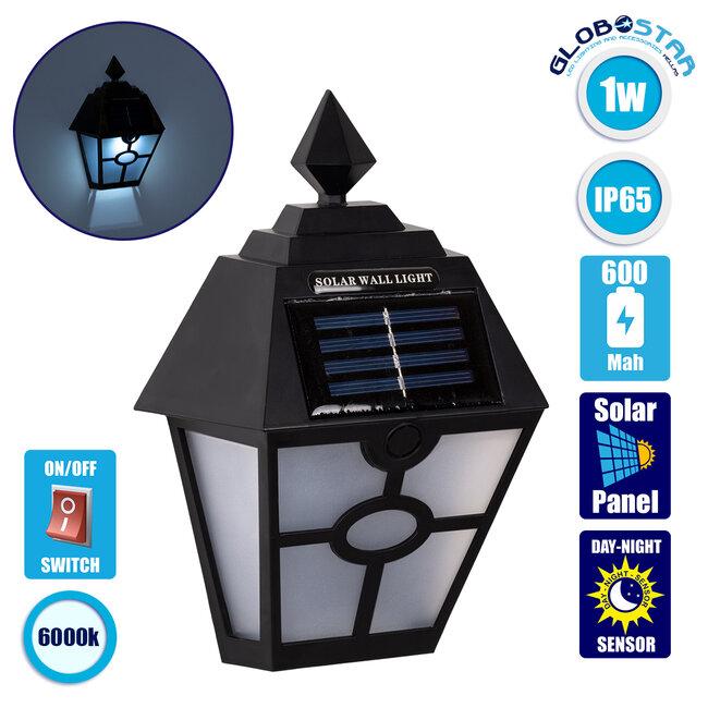71494 Αυτόνομο Ηλιακό Φωτιστικό Τοίχου Μαύρο LED SMD 1W 100lm με Ενσωματωμένη Μπαταρία 600mAh - Φωτοβολταϊκό Πάνελ με Αισθητήρα Ημέρας-Νύχτας IP65 Ψυχρό Λευκό 6000K