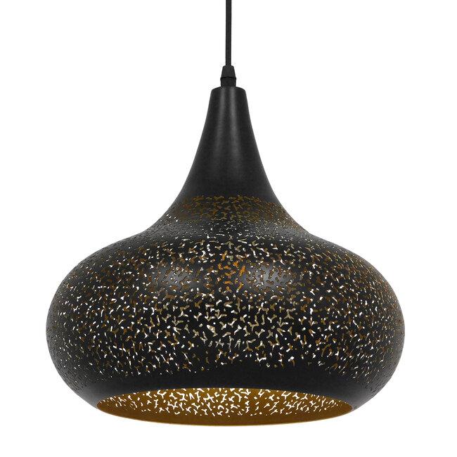Μοντέρνο Κρεμαστό Φωτιστικό Οροφής Μονόφωτο Μαύρο με Χρυσό Μεταλλικό Καμπάνα Φ30  JANIS 01590 - 2