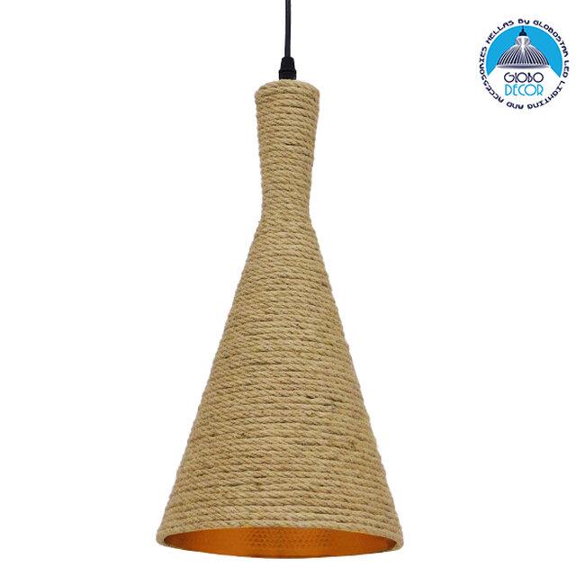 Vintage Κρεμαστό Φωτιστικό Οροφής Μονόφωτο με Μπεζ Σχοινί Καμπάνα  BEIJING Φ20 00918 - 1