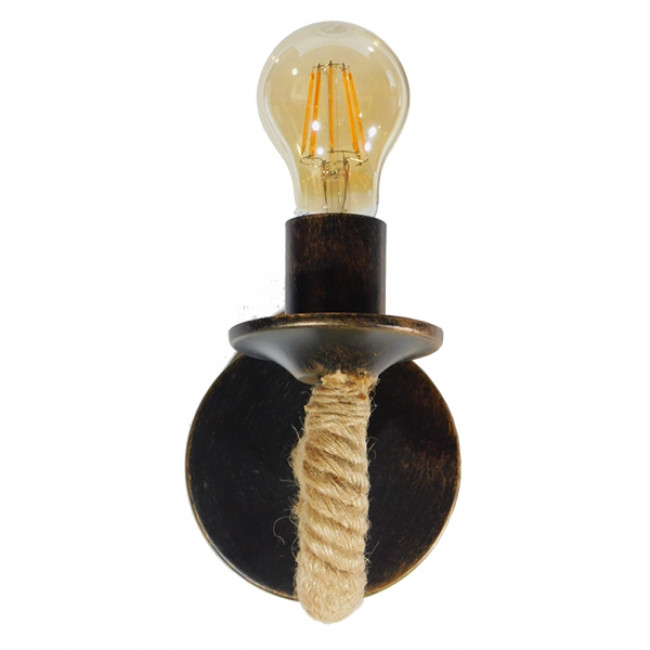 Vintage Φωτιστικό Τοίχου Απλίκα Μονόφωτο Μαύρο Μεταλλικό Με Μπεζ Σχοινί GloboStar DAKER 01184 - 3