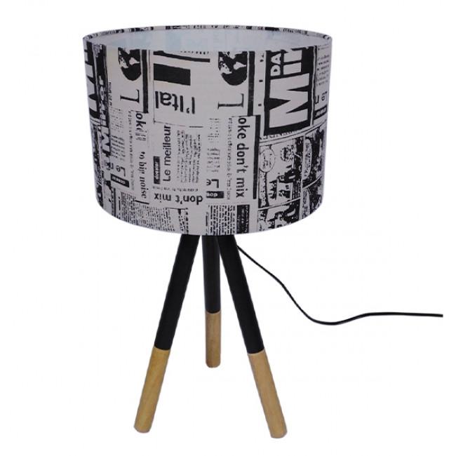 Μοντέρνο Επιτραπέζιο Φωτιστικό Πορτατίφ Μονόφωτο Ξύλινο με Άσπρο Μπεζ Καμβά Καπέλο Φ30 GloboStar MAGAZINE 01230 - 3