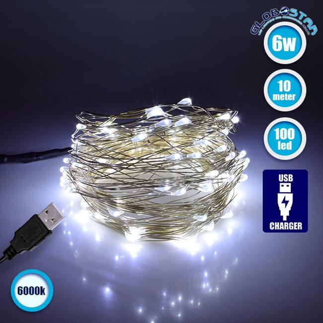 79732 Διακοσμητική Γιρλάντα 10 Μέτρων 100 LED USB 5 Volt 6 Watt με Ασημένιο Συρμάτινο Καλώδιο Ψυχρό Λευκό 6000k - 1