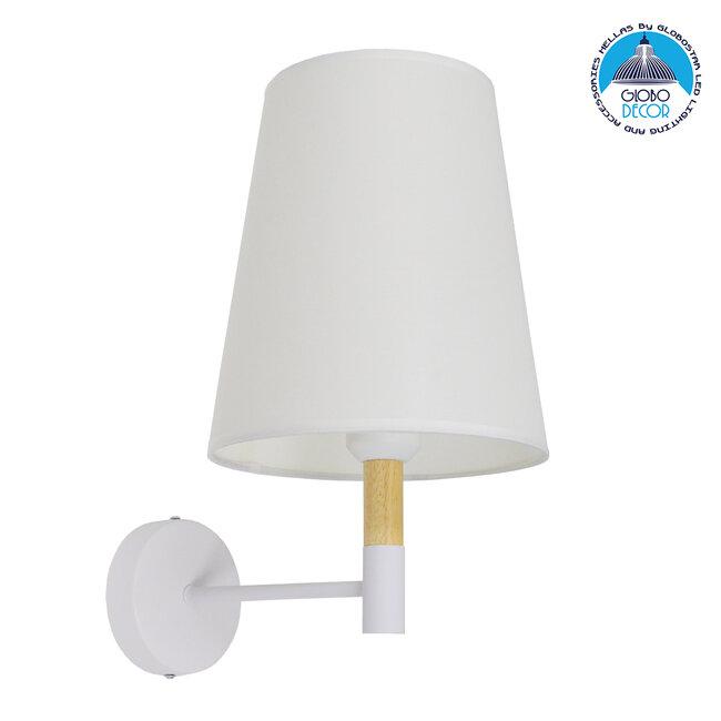 Μοντέρνο Φωτιστικό Τοίχου Απλίκα Μονόφωτο Λευκό με Μπέζ Ξύλο Μεταλλικό Φ20  LYDFORD WHITE 01433 - 1