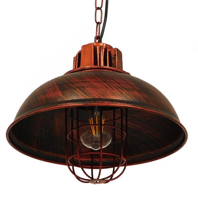 Vintage Industrial Κρεμαστό Φωτιστικό Οροφής Μονόφωτο Καφέ Σκουριά Μεταλλικό Πλέγμα Φ33 GloboStar HARROW IRON RUST 01572 - 6