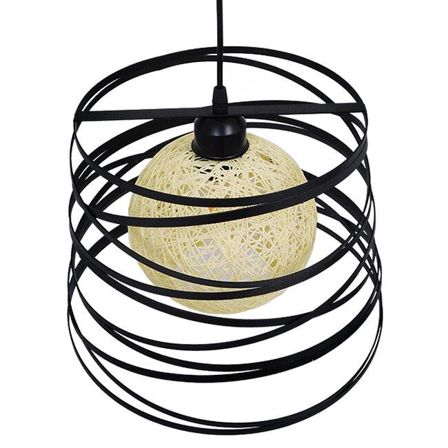 Μοντέρνο Industrial Κρεμαστό Φωτιστικό Οροφής Μονόφωτο Μαύρο με Εκρού Μεταλλικό Πλέγμα Φ32  CARTER Φ32 00961 - 5