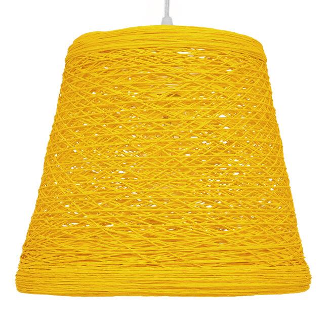 Vintage Κρεμαστό Φωτιστικό Οροφής Μονόφωτο Κίτρινο Ξύλινο Ψάθινο Rattan Φ32  ARGENT YELLOW 00998 - 3