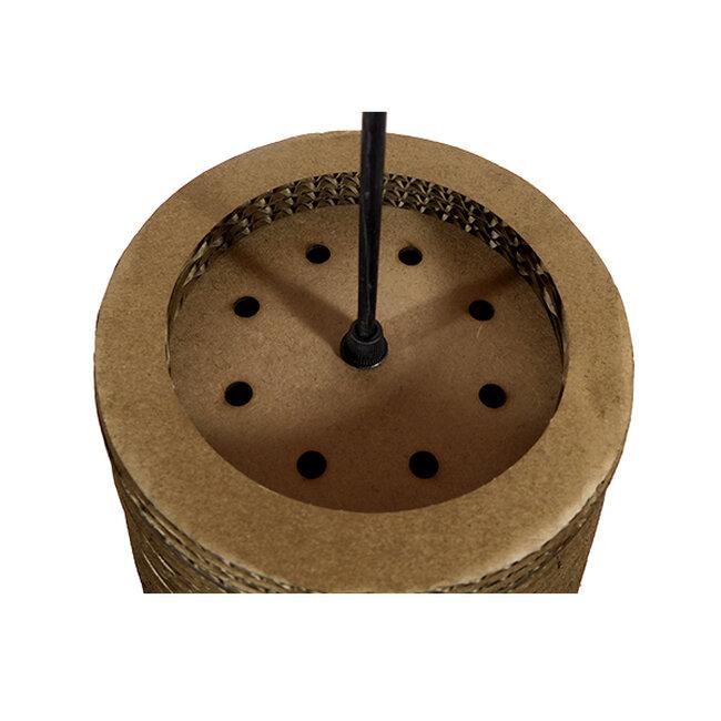 Vintage Κρεμαστό Φωτιστικό Οροφής Μονόφωτο 3D από Επεξεργασμένο Σκληρό Καφέ Χαρτόνι Καμπάνα Φ25  IKARIA 01294 - 7